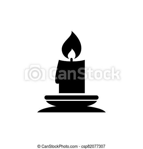 Christmas Lit Candle and Candlestick Holder. Flat Vector Icon illustration. Simple black symbol on white background. Lit Candle, Candlestick Holder sign design template for web and mobile UI element. - csp82077307