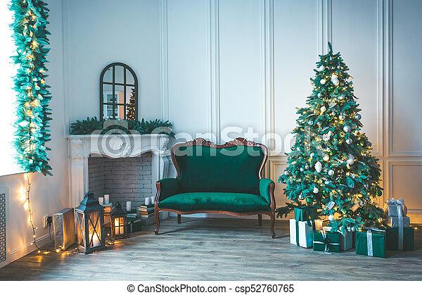 Christmas Living Room With A Fireplace Sofa Christmas Tree And
