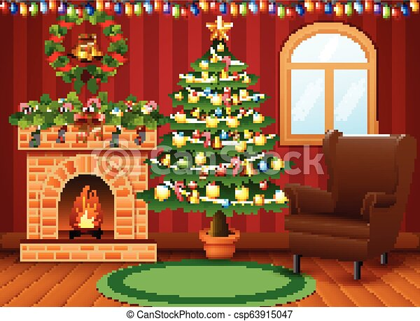 Christmas Living Room With Fireplace Armchair Tree And Presents
