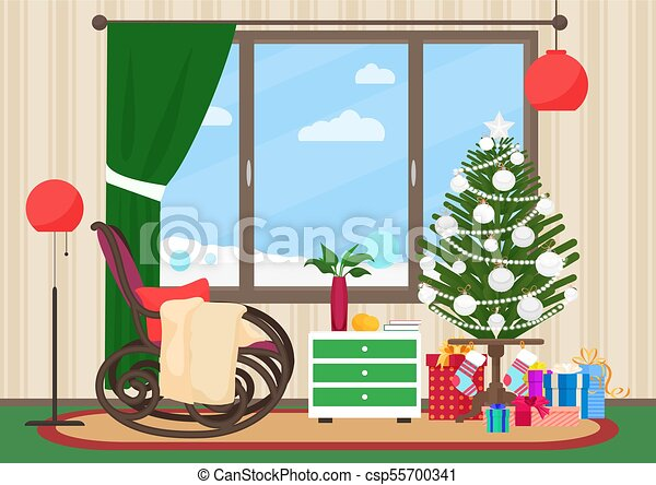 Christmas Livingroom Flat Interior With Rocking Chair Vector
