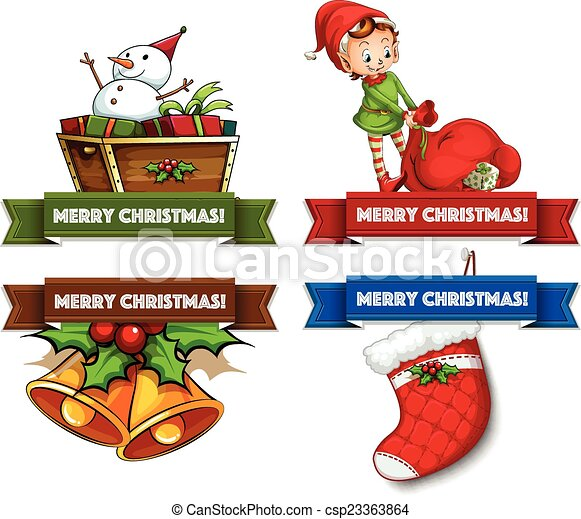 christmas logos assorted christmas labels on white clip art vector rh canstockphoto com Christmas Decorations Clip Art Christmas Ornament Clip Art