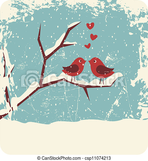 Christmas love. Illustration of two cute birds in love at ...