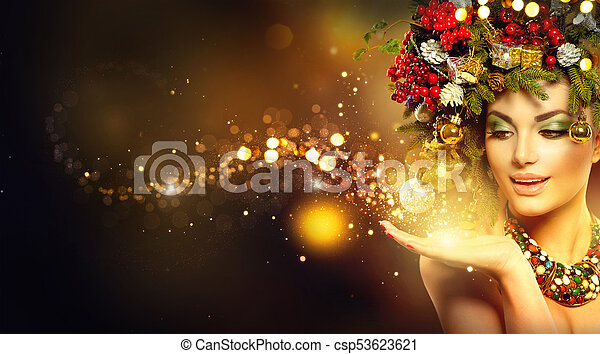 Christmas Magic Beauty Fashion Model Over Holiday Blurred Background Canstock