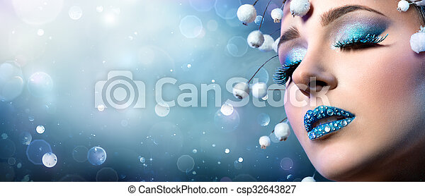 Christmas Makeup - Rhinestones  - csp32643827