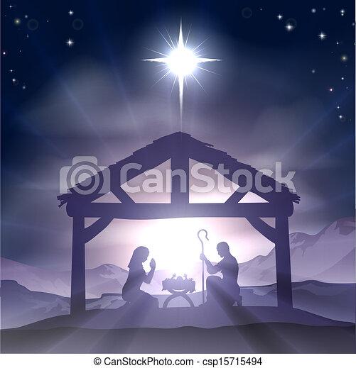 Christmas Manger Nativity Scene - csp15715494