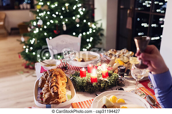 Christmas meal on a table - csp31194427