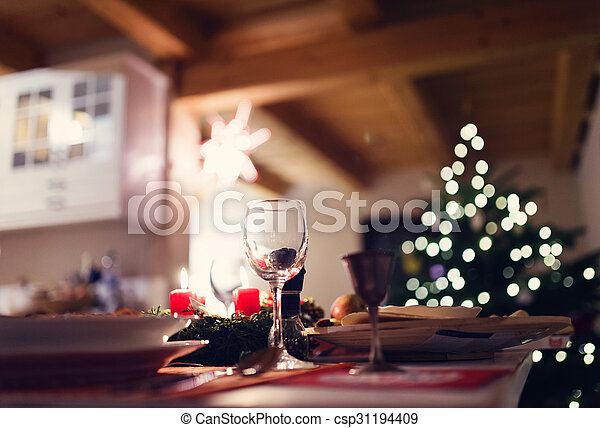 Christmas meal on a table - csp31194409
