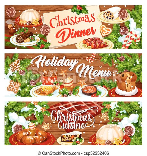 Christmas Dinner Clipart.Christmas Menu Banner With Xmas Dinner Dishes