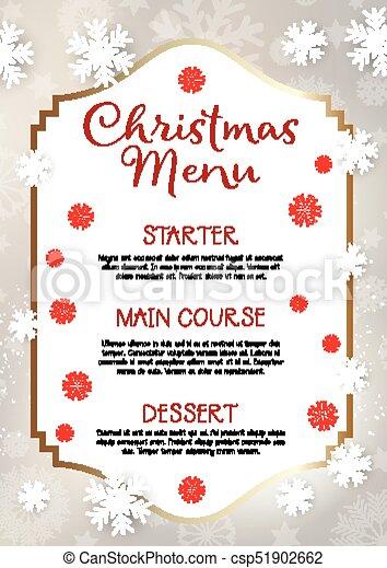 christmas menu design background christmas menu with snowflake design