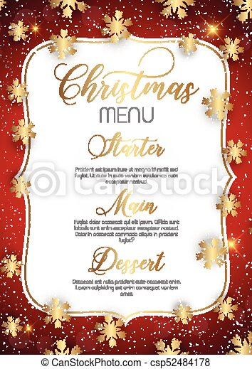 christmas menu design with golden snowflakes
