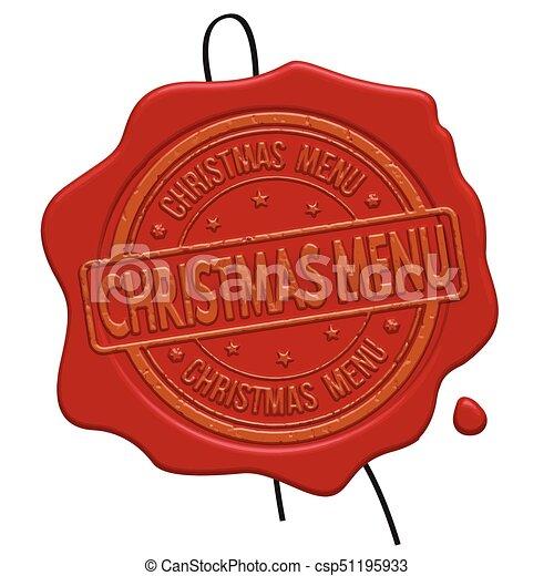 Christmas menu red wax seal - csp51195933