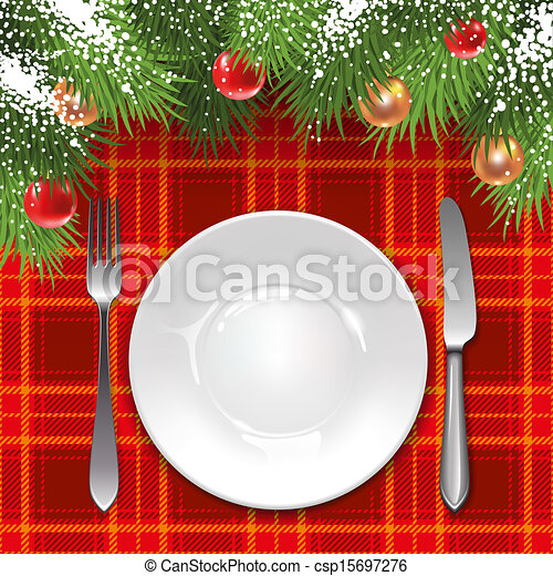 christmas menu template with holiday decorations and tartan tablecloth
