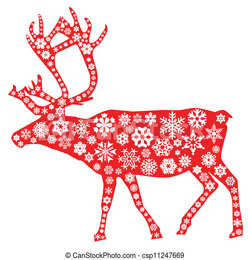 christmas moose in red with snowflakes pattern in white - Christmas Moose