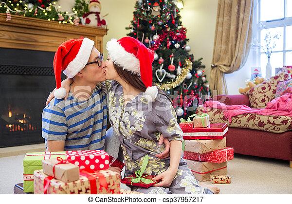 Chinese Christmas.Christmas Morning Kisses
