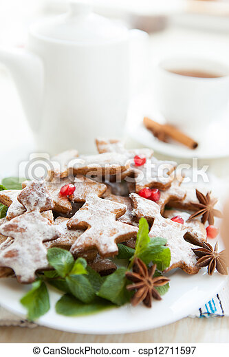 Christmas morning tea with cookies - csp12711597