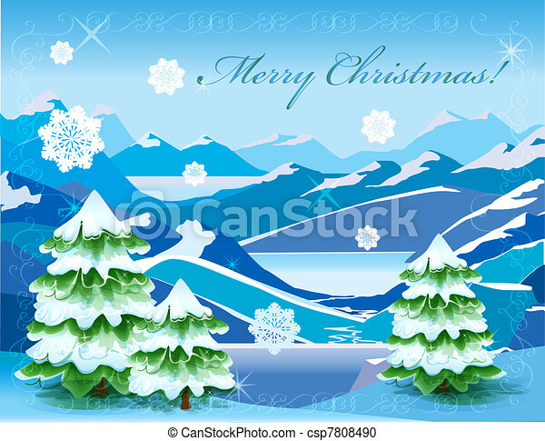 christmas mountain landscape with tree covered with deep snow csp7808490 - Christmas Mountain