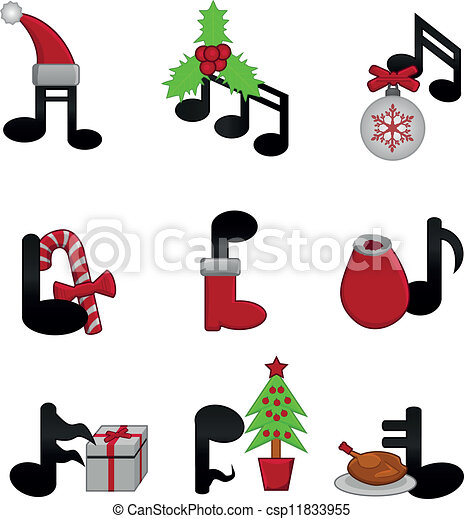 music notes with christmas elements