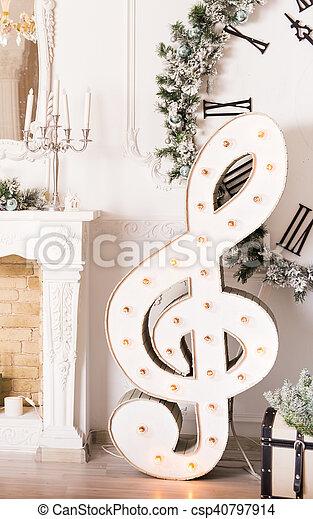 Christmas music concept - treble clef - csp40797914
