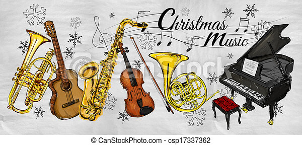 Christmas Music Instruments Paintin - csp17337362