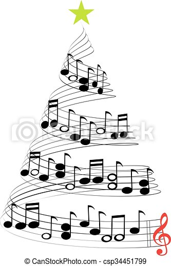 CHRISTMAS MUSIC TREE - csp34451799
