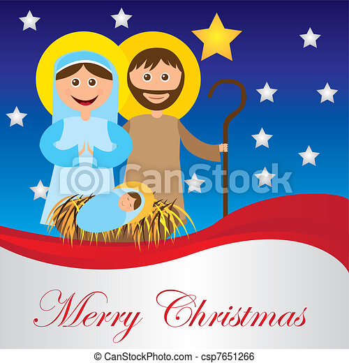 Christmas Nativity Scene With Holy Family Card Isolated Vector Rh Canstockphoto Com Party Clip