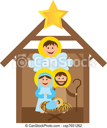 christmas nativity scene with holy family isolated vector vector rh canstockphoto com christmas nativity clipart free merry christmas nativity clipart