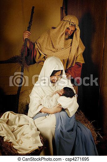 Christmas nativity live scene - csp4271695