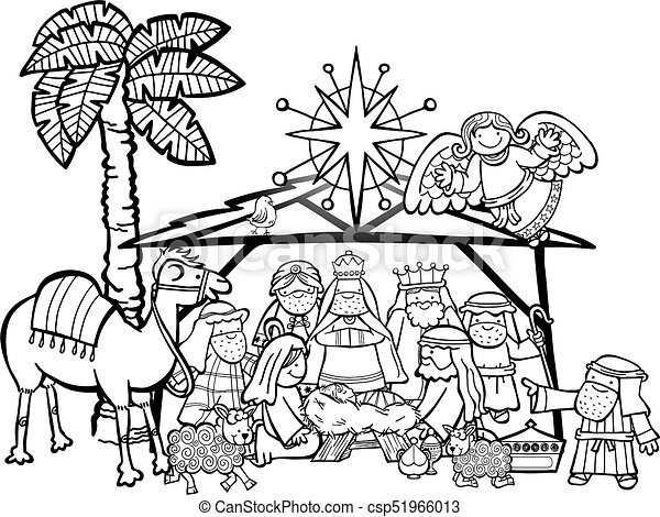 Christmas Images Cartoon Black And White.Christmas Nativity Scene