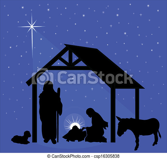 Christmas Stable Drawing.Christmas Nativity Scene