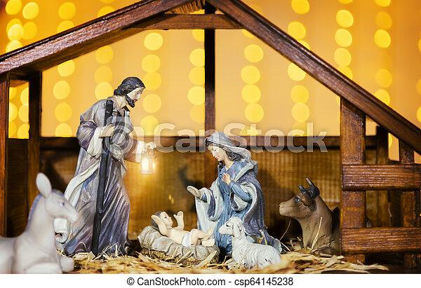 Christmas Nativity Scene Jesus Christ Mary And Joseph Christmas Manger Scene With Figurines Including Jesus Mary Joseph Canstock