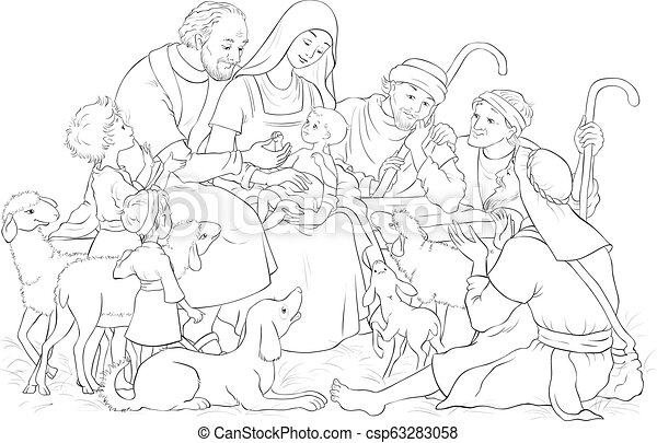 Joseph, mary and jesus coloring pages - Hellokids.com | 309x450