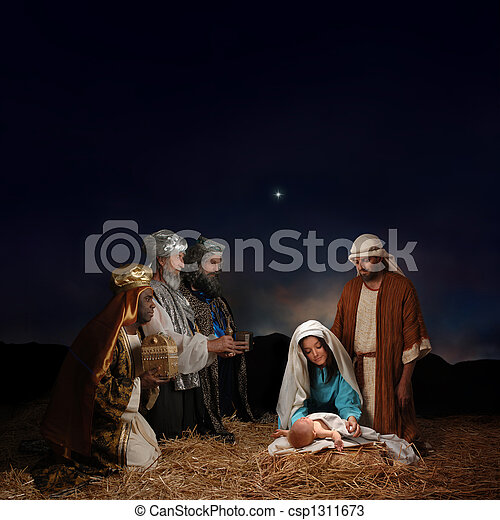 Christmas Nativity with Wise Men - csp1311673