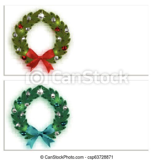 Christmas, New Year. Business cards, cards, invitations. Green and blue spruce branches in the form of two Christmas wreaths with balls and bows. On a white background. illustration - csp63728871