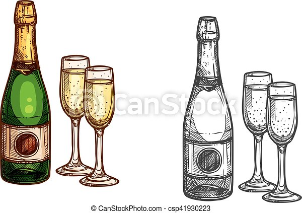 christmas new year champagne bottle glass sketch csp41930223