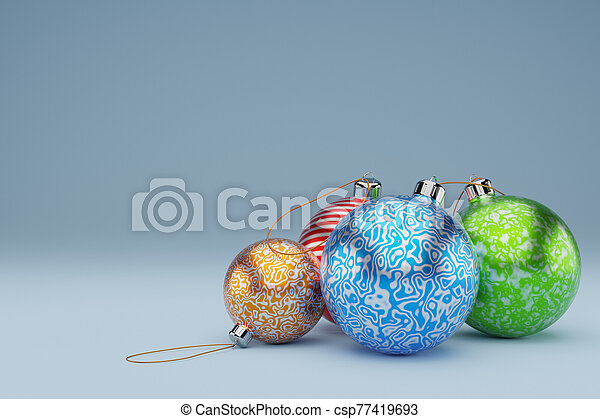 Christmas, New year, Christmas tree toys balls of different colors, close-up on blue background,3D Rendering. - csp77419693