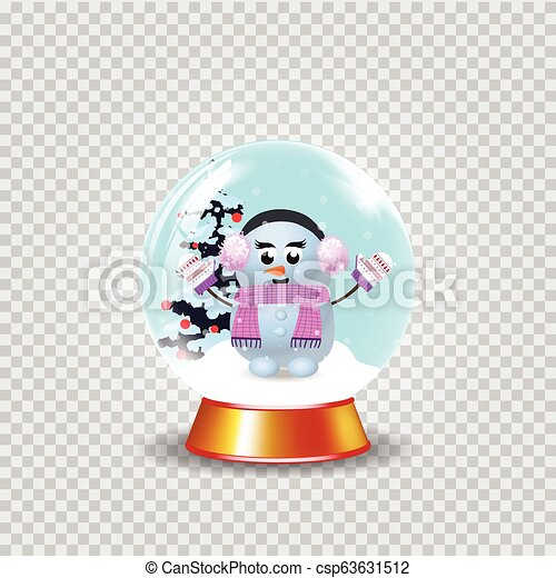 Christmas, new year crystal snow globe with cute snowman girl clip art - csp63631512
