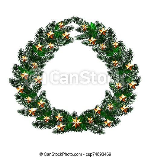 Christmas, New Year. Dark green branches of spruce in the form of a Christmas wreath with gold stars. illustration - csp74893469