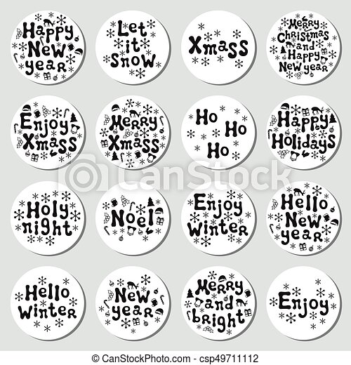 christmas new year gift round stickers labels xmas set hand drawn decorative element collection