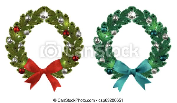 Christmas, New Year. Green branches of spruce in the form of two Christmas wreaths with balls and bows. On a white background. illustration - csp63286651