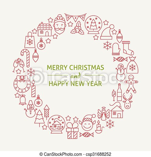 christmas new year holiday line art icons set circle vector illustration of decoration and festival cold celebration objects winter holiday items