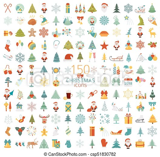 Christmas, New Year holidays icon big set. Flat style collection - csp51830782