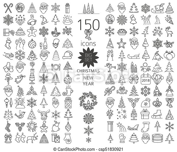 Christmas, New Year holidays icon big set. Flat style collection - csp51830921