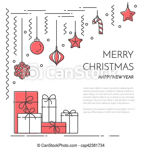 christmas new year horizontal banner with champagne decorations lline art csp42381734