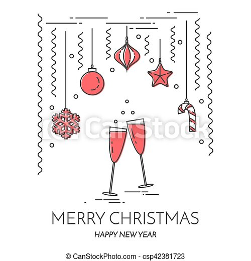 christmas new year horizontal banner with champagne decorations lline art csp42381723