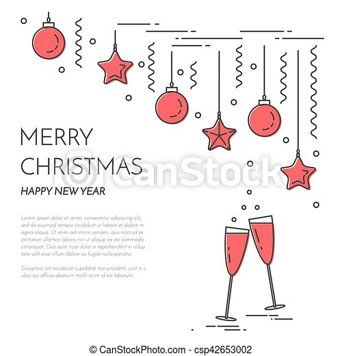 christmas new year horizontal banner with champagne decorations lline art csp42653002