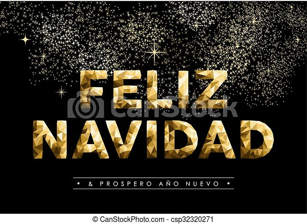 christmas new year low poly gold spanish navidad csp32320271