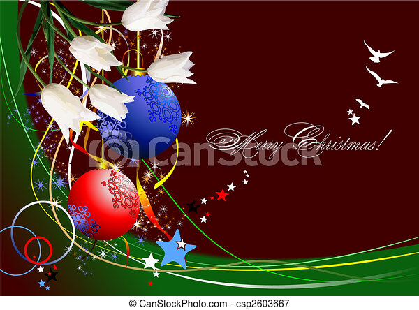 Christmas - New Year shine card with golden balls - csp2603667