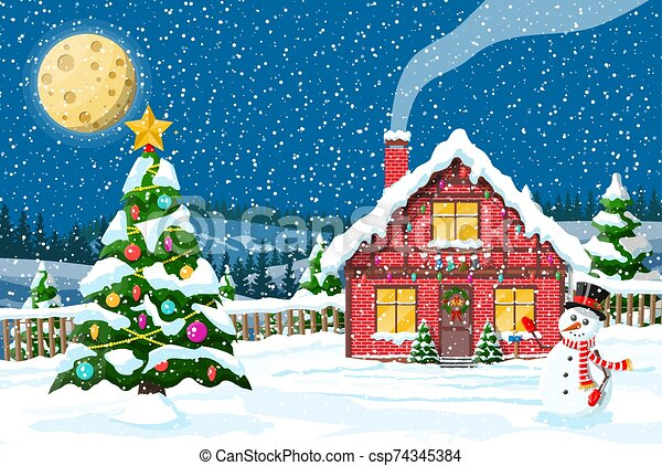 Christmas new year winter landscape - csp74345384