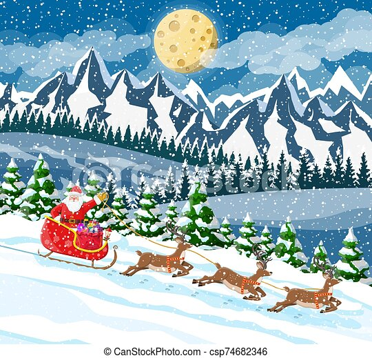 Christmas new year winter landscape - csp74682346