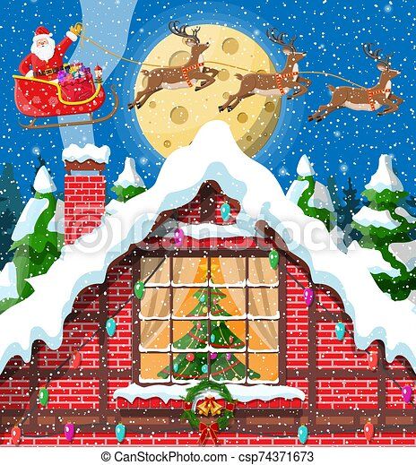 Christmas new year winter landscape - csp74371673